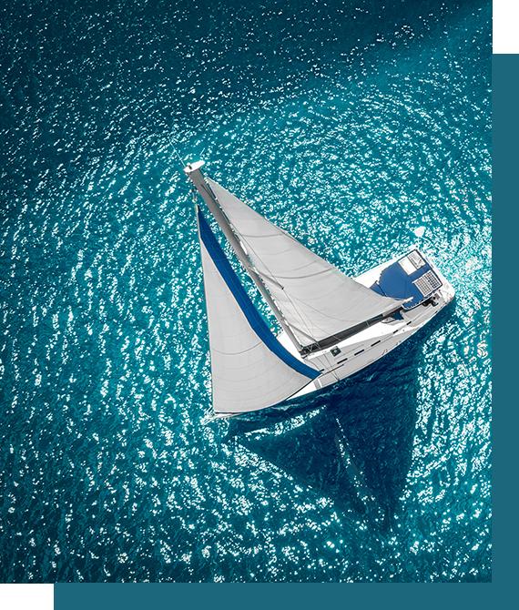 Yacht set fra oven